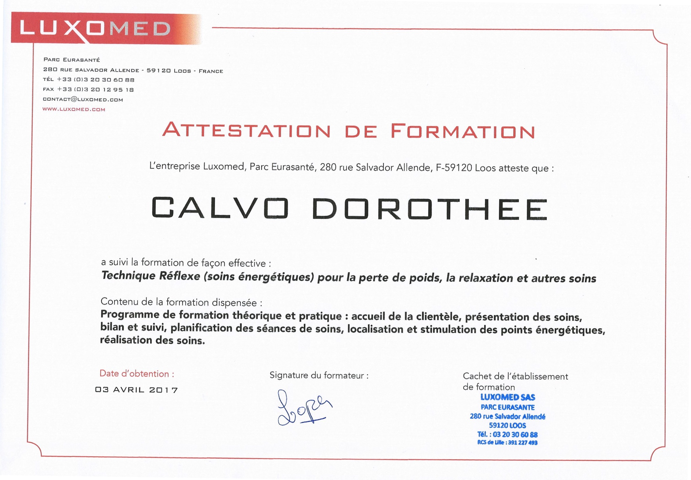 Attestation de formation Luxopuncture Luxomed